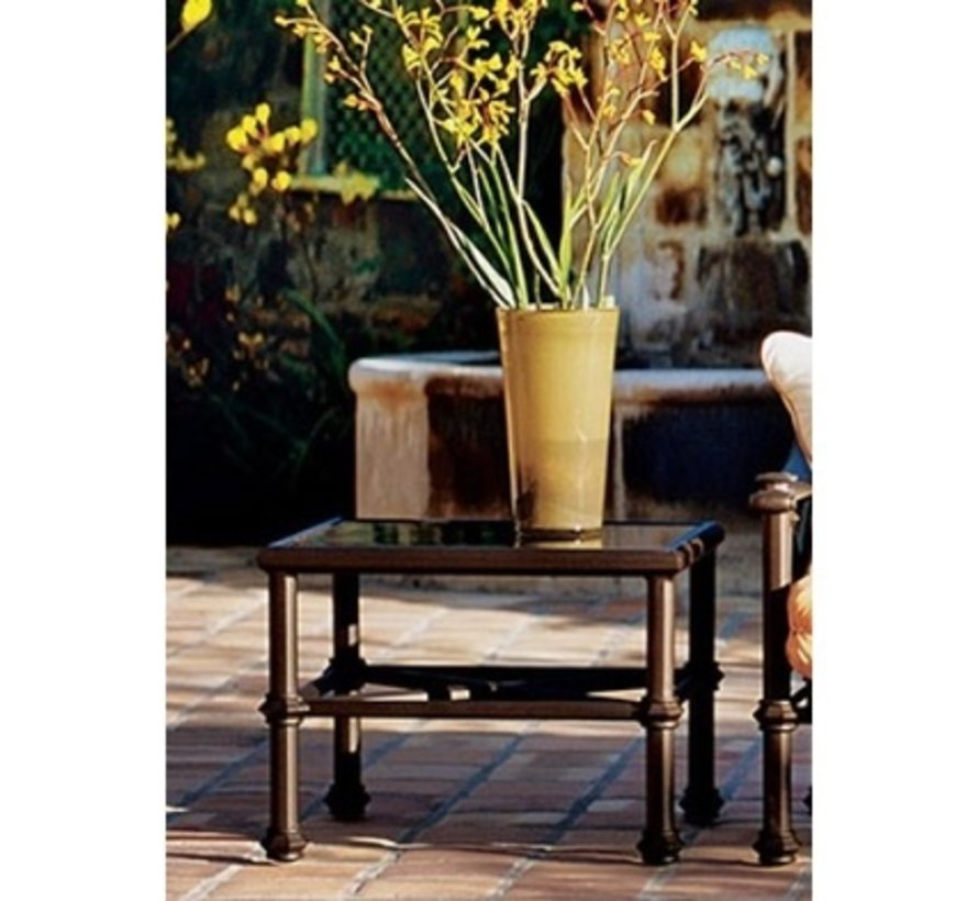 CAMPAIGN 27 SQUARE OCCASIONAL TABLE WITH GLASS TOP