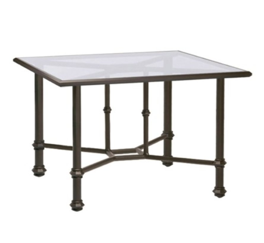 CAMPAIGN SQUARE DINING TABLE WITH GLASS TOP