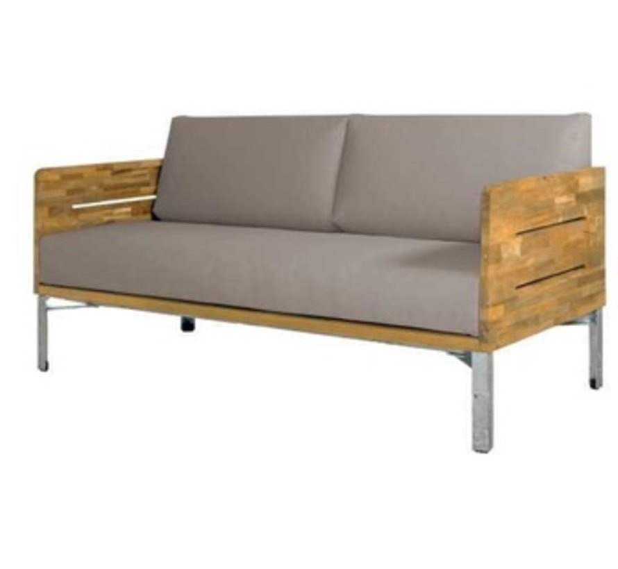 INDUSTRIAL LOVESEAT WITH CUSHIONS, BRUSHED TEAK FRAME AND DISTRESSED POWDER COATED ALUMINUM BASE