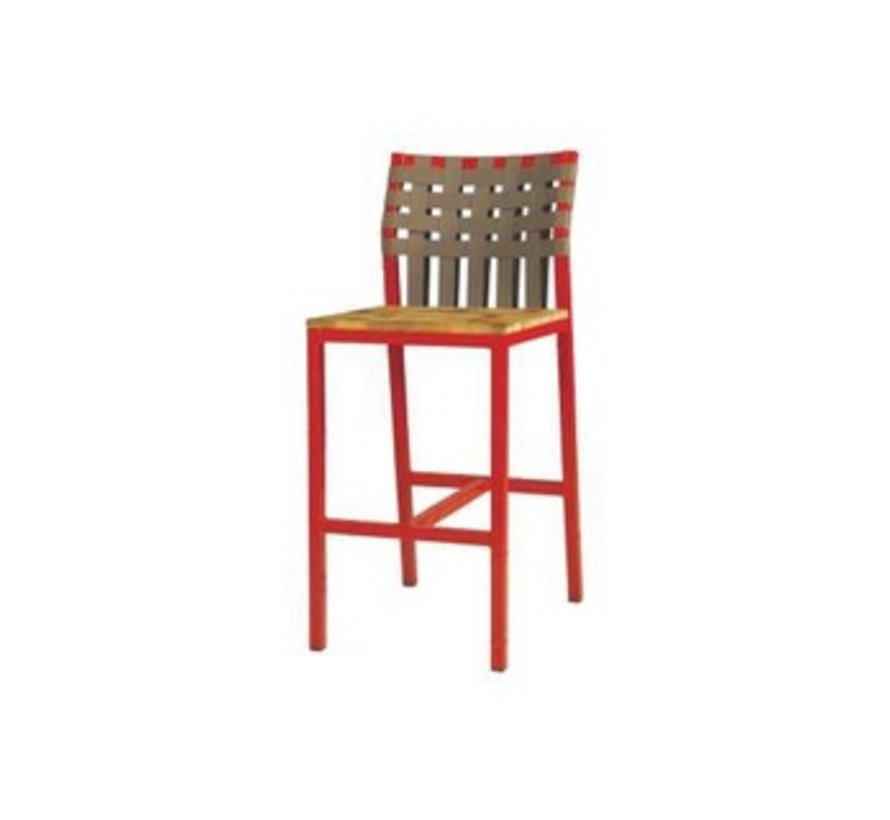 INDUSTRIAL X-STYLE WEAVE BAR CHAIR WITH LAMINATED RUSTIC TEAK SEAT, KEOPS WOVEN BACK AND DISTRESSED POWDER COATED ALUMINUM FRAME
