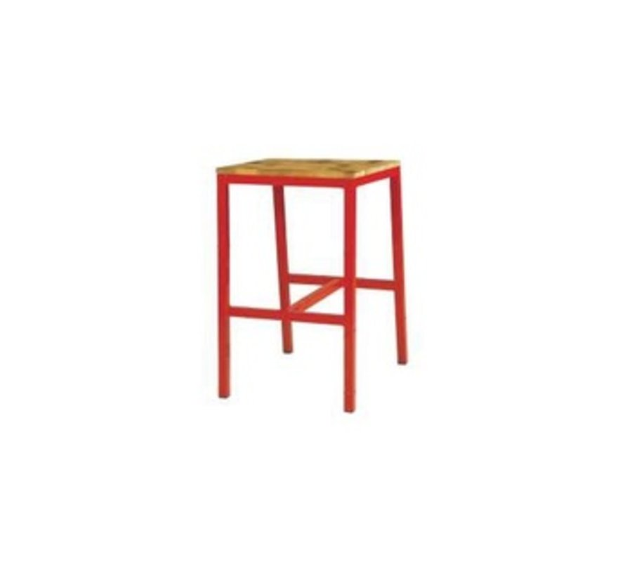 INDUSTRIAL X-STYLE BAR STOOL WITH RUSTIC TEAK SEAT AND DISTRESSED POWDER COATED ALUMINUM FRAME