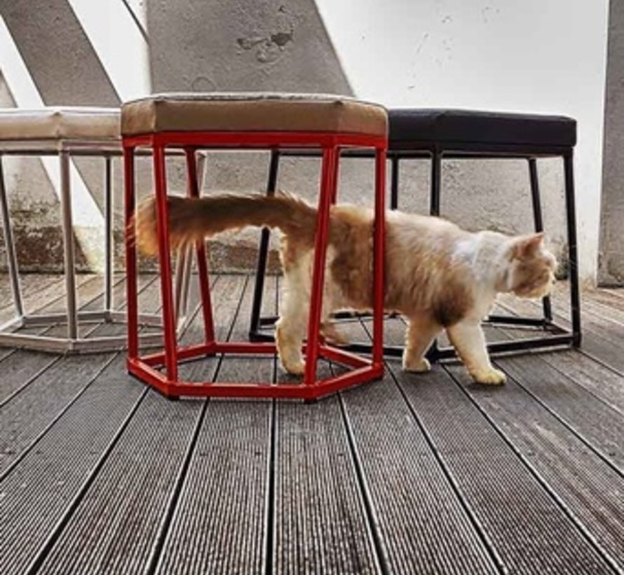 POLYGON LARGE STOOL/COFFEE TABLE WITH LAMINATED RUSTIC TEAK TOP AND POWDER COATED ALUMINUM FRAME
