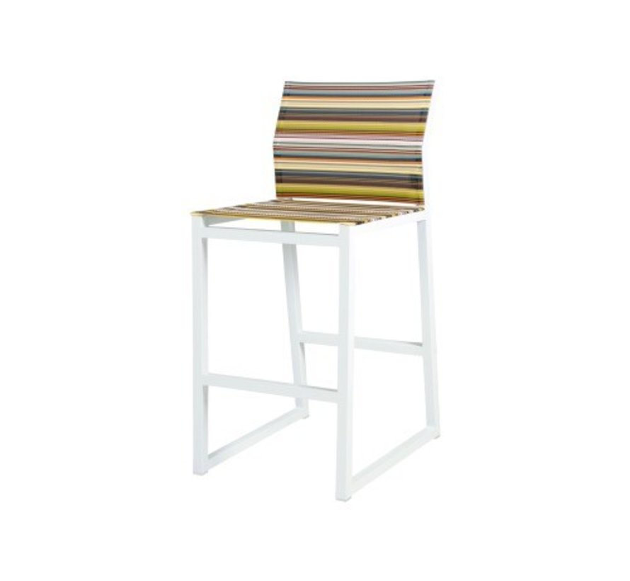 STRIPE BAR CHAIR, POWDER COATED ALUMINUM FRAME AND TEXTILENE TWITCHELL STRIPES SLING