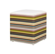 MAMAGREEN STRIPE STOOL WITH ALUMINUM FRAME, WEATHER RESISTANT TWITCHELL TEXTILINE SIDES AND STAMSKIN TOP
