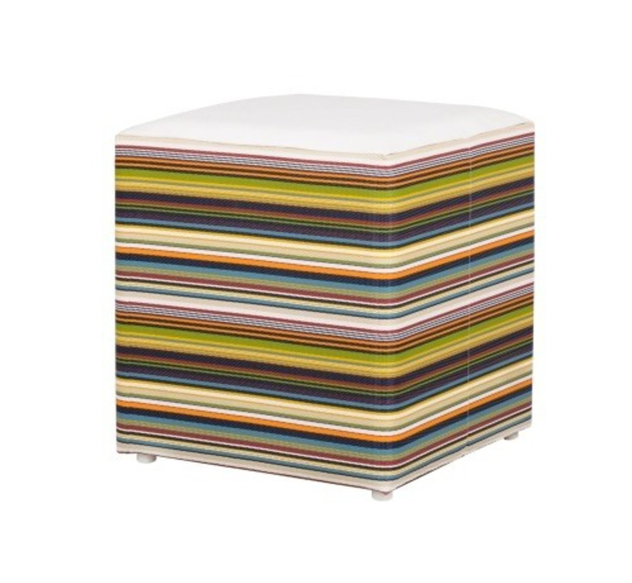 STRIPE STOOL WITH ALUMINUM FRAME, WEATHER RESISTANT TWITCHELL TEXTILINE SIDES AND STAMSKIN TOP