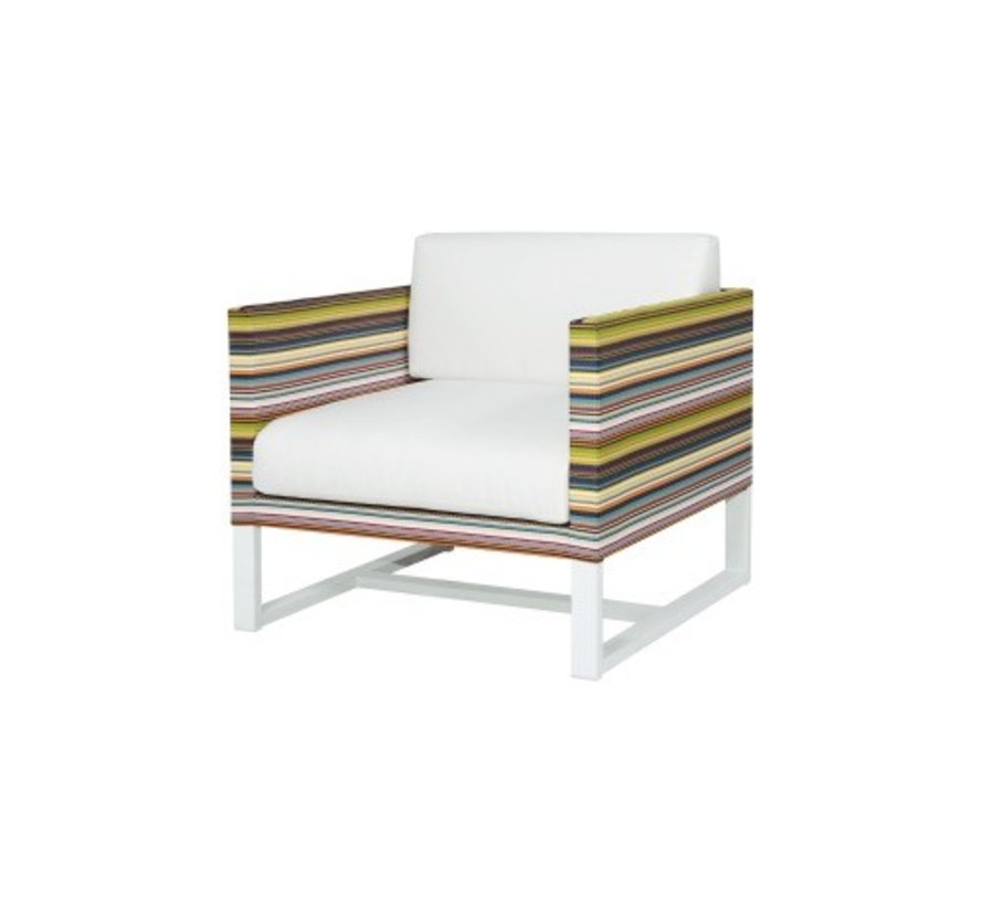 STRIPE 1-SEATER LOUNGE CHAIR, POWDER COATED ALUMINUM FRAME, TEXTILENE TWITCHELL STRIPES UPHOLSTERY AND SUNBRELLA CANVAS FABRIC