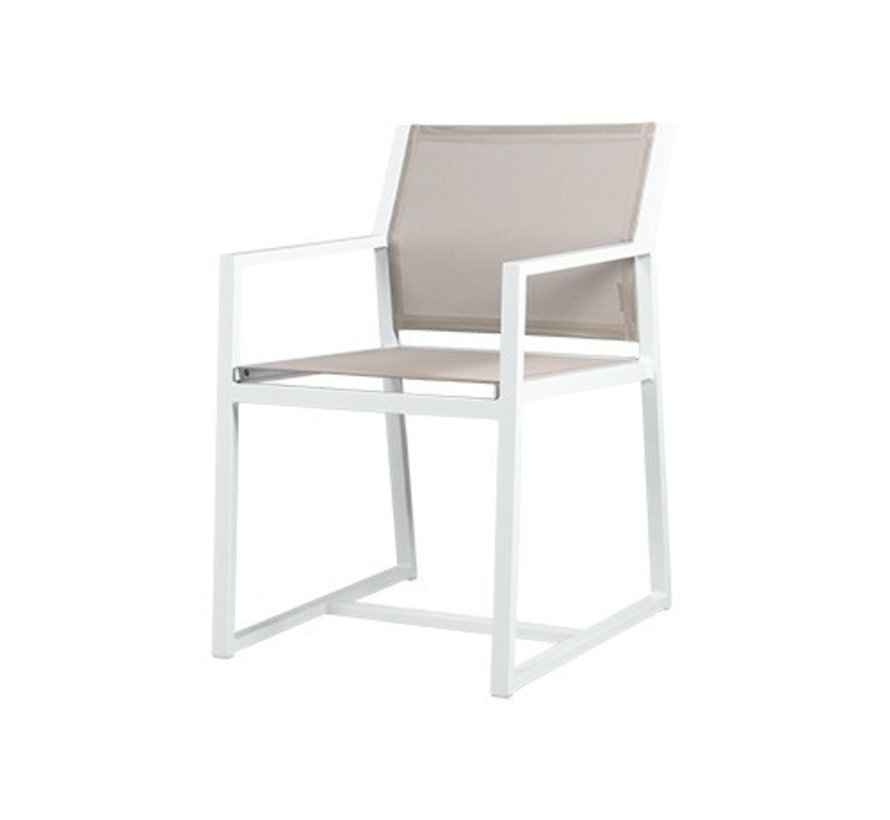 ALLUX CARVER DINING CHAIR WITH POWDER COATED ALUMINUM FRAME AND STANDARD BATYLINE