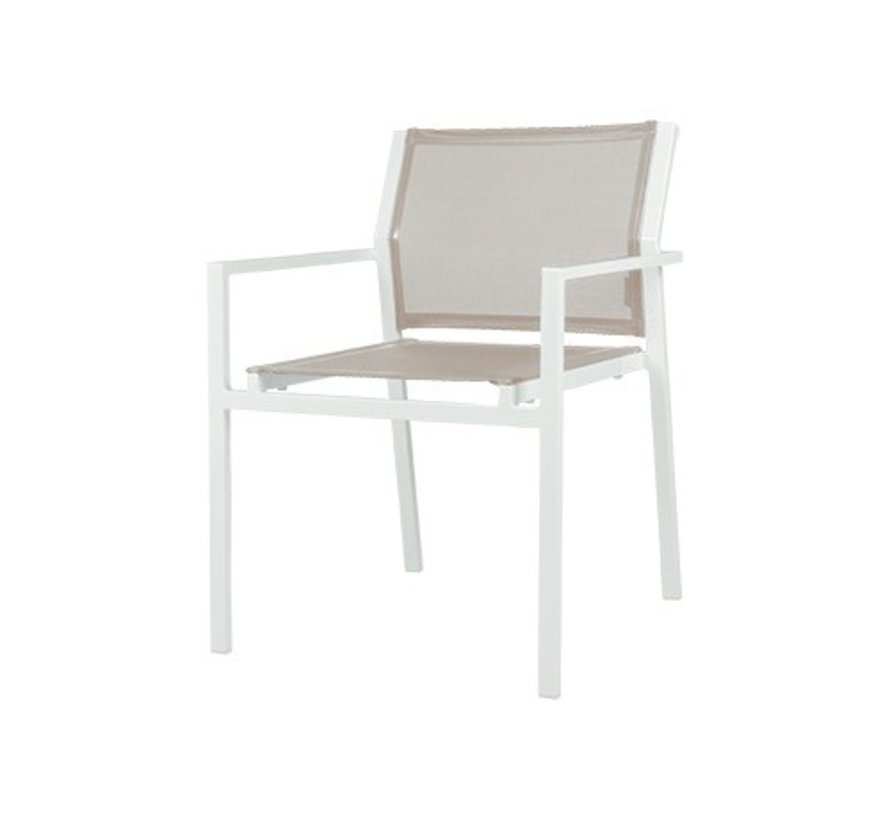 ALLUX STACKING DINING ARMCHAIR WITH POWDER COATED ALUMINUM FRAME AND STANDARD BATYLINE