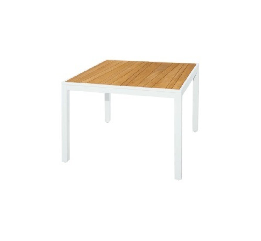 ALLUX 40 SQUARE DINING TABLE WITH ABSTRACT TEAK SLAT TOP AND POWDER COATED ALUMINUM FRAME