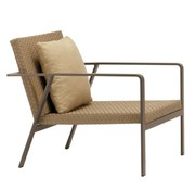 BROWN JORDAN ELEMENTS LOUNGE CHAIR IN MOCA RESINWEAVE WITH 1 BACK PILLOW IN GRADE A FABRIC