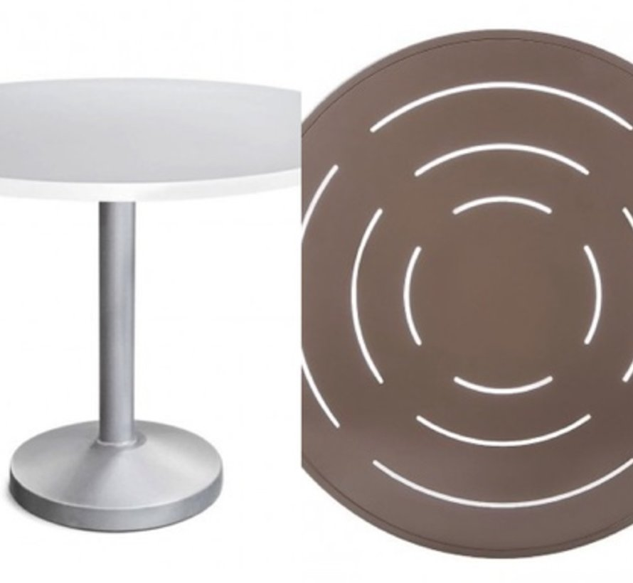 Superbe PEDESTAL 42 INCH ROUND DINING TABLE WITH POWDER COATED ALUMINUM BASE AND  SLOTTED TOP   Kolo Collection