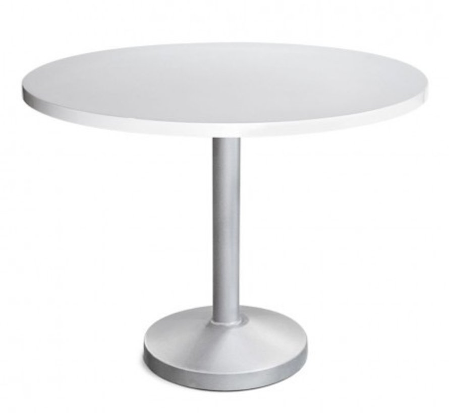 PEDESTAL 48 INCH ROUND DINING TABLE WITH POWDER COATED ALUMINUM BASE AND TOP