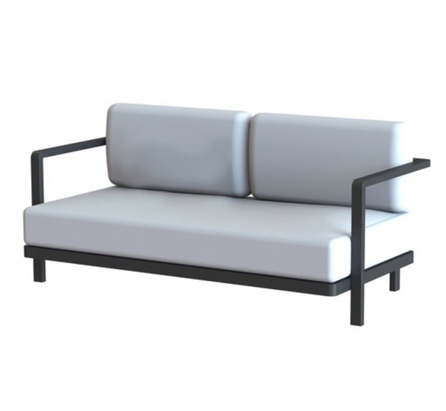 ALURA LOUNGE TWO SEATER / ANTHRACITE COATED ALUMINUM / BLACK BATYLINE