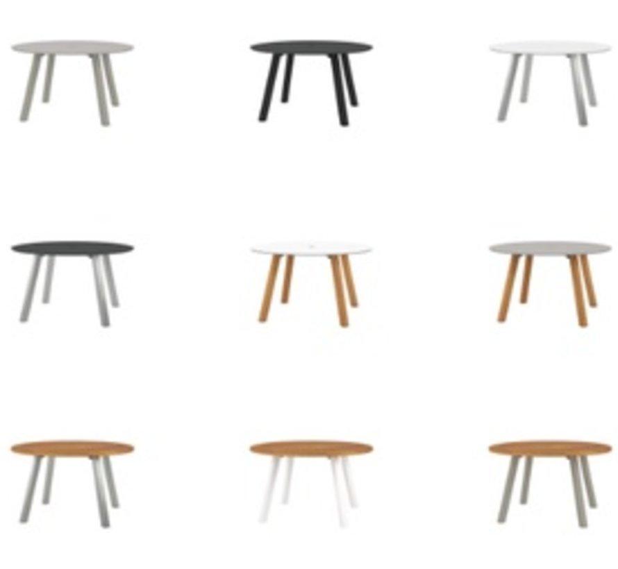 DISCUS 51 INCH ROUND TABLE - POWDER COATED ALUMINUM BASE IN BLACK  / TEAK TOP
