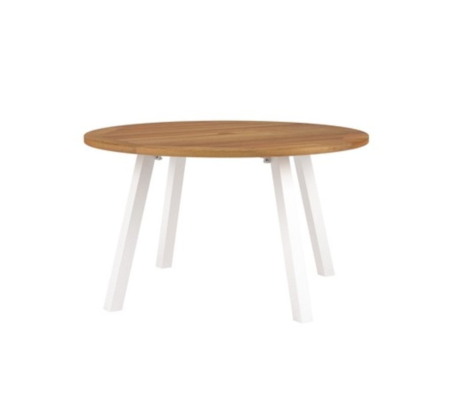 DISCUS 51 INCH ROUND TABLE - POWDER COATED ALUMINUM BASE IN WHITE / TEAK TOP