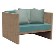 BROWN JORDAN ELEMENTS CLUB CHAIR IN MOCA RESINWEAVE WITH GRADE A FABRIC