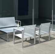 ROYAL BOTANIA NINIX LOW BENCH / BRUSHED STAINLESS STEEL / WHITE BATYLINE