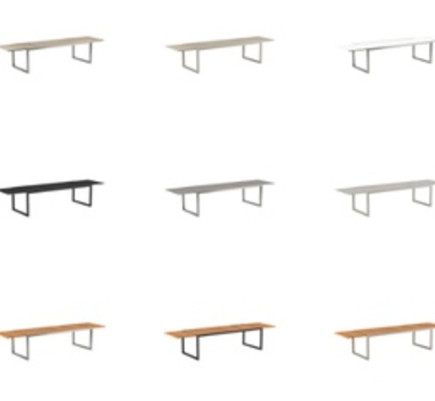 NINIX 95-142x39 INCH EXTENSION DINING TABLE - BRUSHED STAINLESS STEEL WITH TEAK TOP