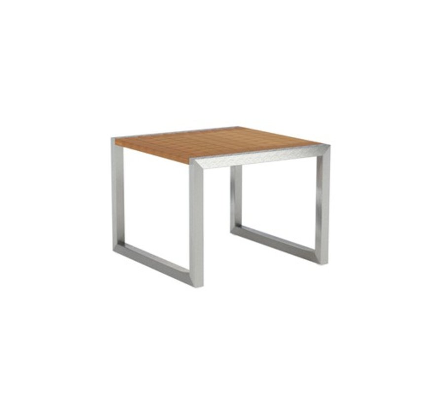 NINIX 20 INCH SQUARE SIDE TABLE / BRUSHED STAINLESS WITH TEAK TOP
