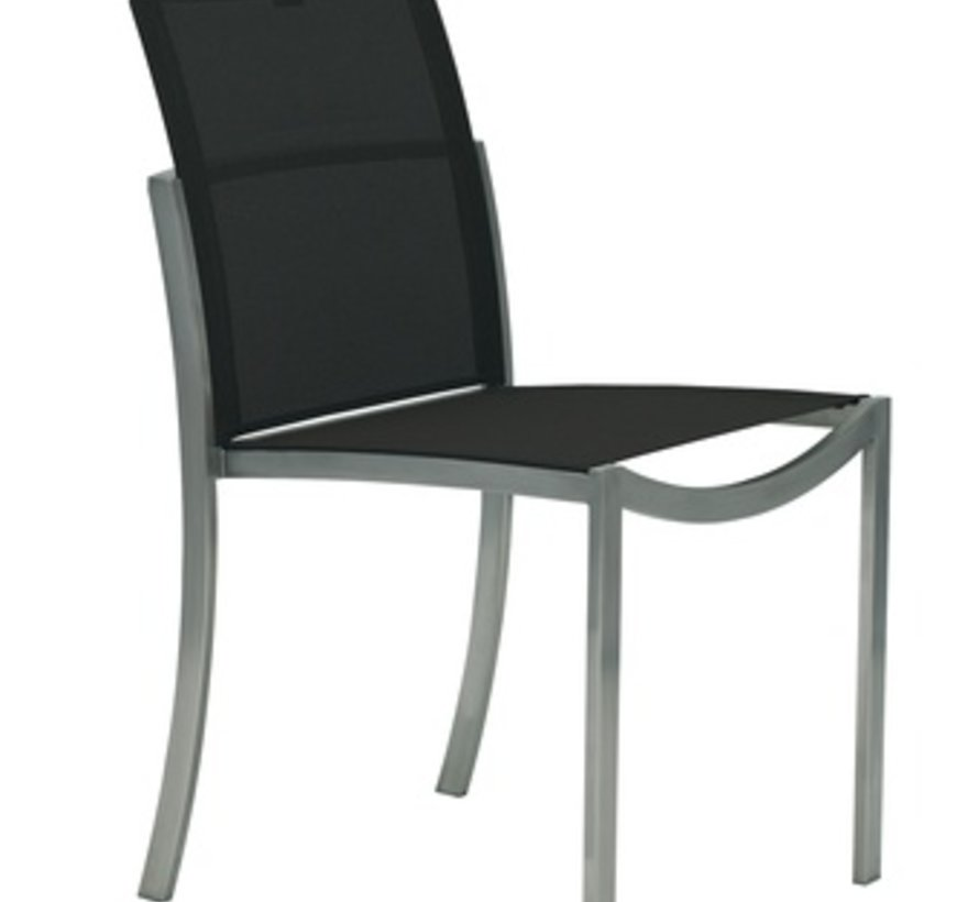 O-ZON SIDE CHAIR / ELECTRO POLISHED STAINLESS WITH BLACK BATYLINE