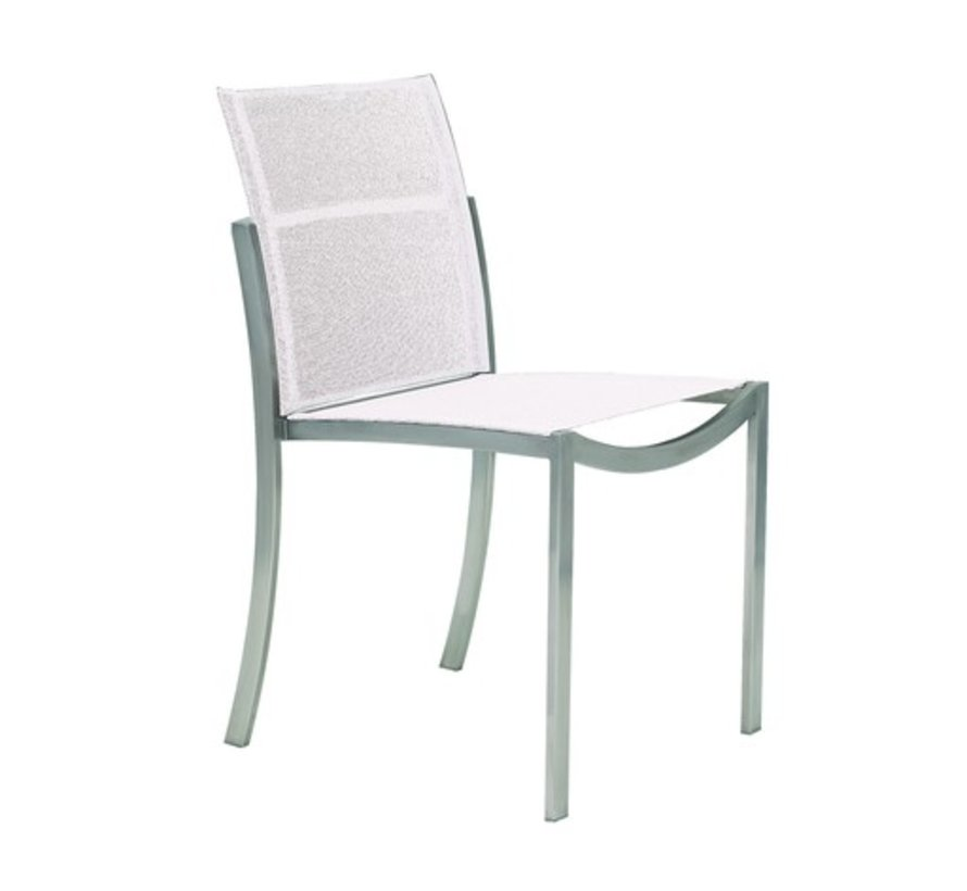 O-ZON SIDE CHAIR / BRUSHED STAINLESS WITH WHITE BATYLINE