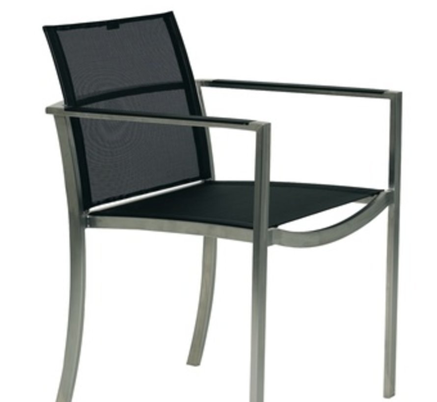 O-ZON ARM CHAIR - EP STAINLESS WITH BLACK BATYLINE