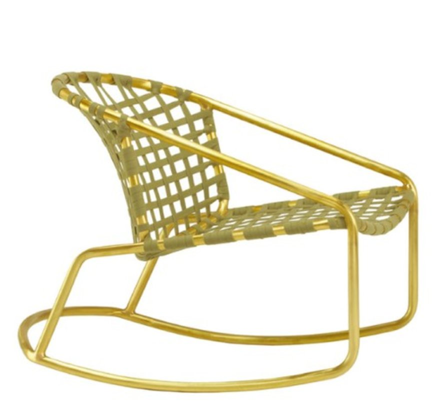 KANTAN BRASS ROCKER WITH SUNCLOTH STRAP