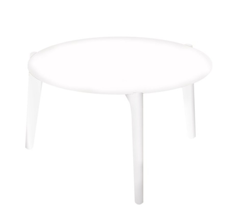 TEA TIME 23 INCH ROUND SIDE TABLE / WHITE POWDER COATED ALUMINUM / WHITE CERAMIC TOP