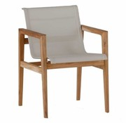 SUMMER CLASSICS COAST ARM CHAIR - NATURAL TEAK WITH GRAY BATYLINE SLING