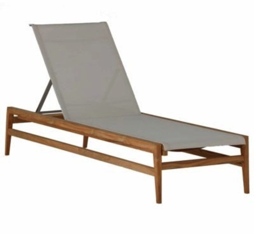 COAST CHAISE LOUNGE IN NATURAL TEAK WITH CANVAS BATYLINE SLING
