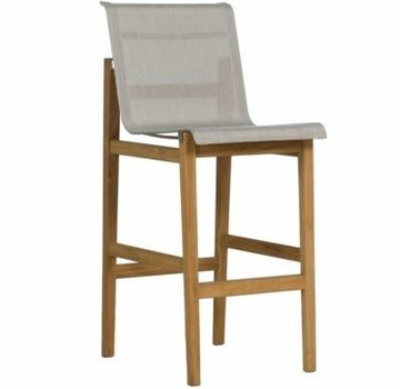 SUMMER CLASSICS COAST BAR STOOL IN NATURAL TEAK AND HEATHER GRAY SLING