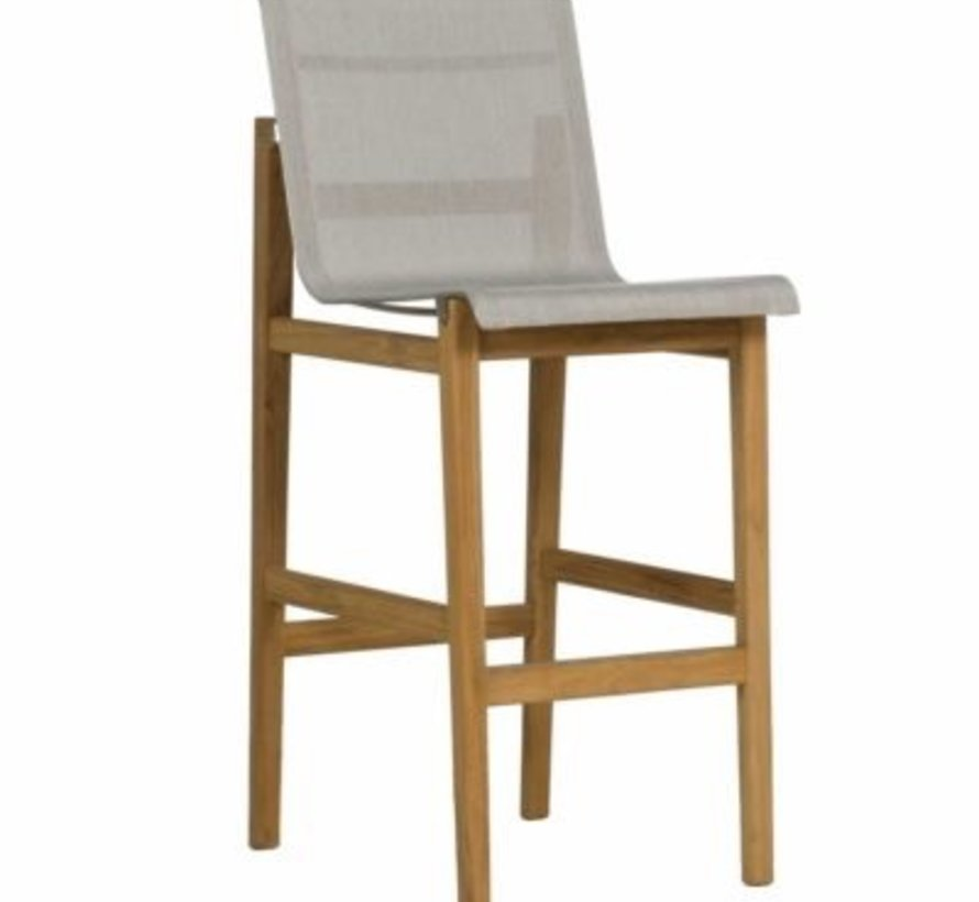 COAST BAR STOOL IN NATURAL TEAK AND HEATHER GRAY SLING