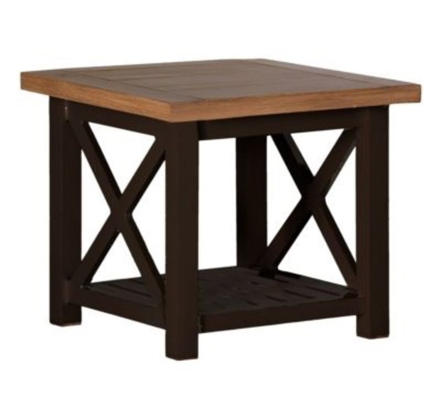 CAHABA 24x24 END TABLE WITH OYSTER BASE AND SLATE GRAY TOP
