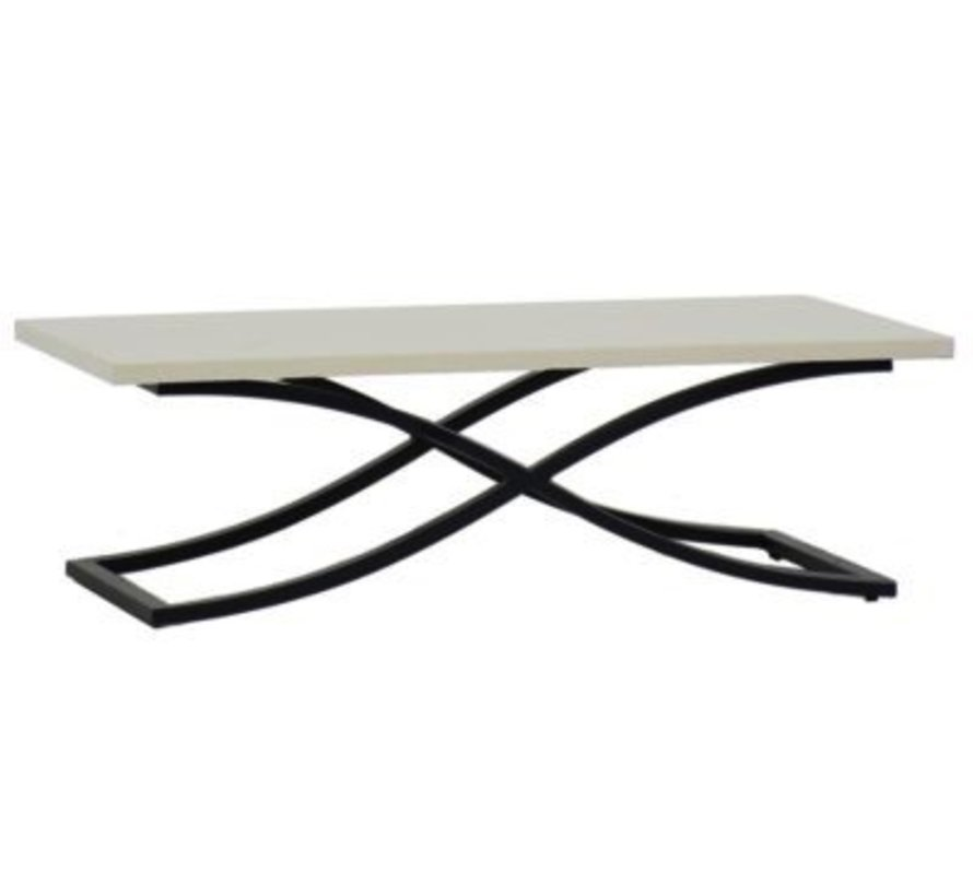 MARCO 52x26 COFFEE TABLE WITH EBONY BASE AND TRAVERTINE SUPERSTONE TOP