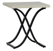 SUMMER CLASSICS MARCO 20x20 END TABLE WITH EBONY BASE AND TRAVERTINE SUPERSTONE TOP