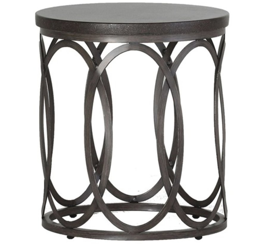 ELLA 20 INCH ROUND END TABLE CHARCOAL BASE BLACK WALNUT TOP