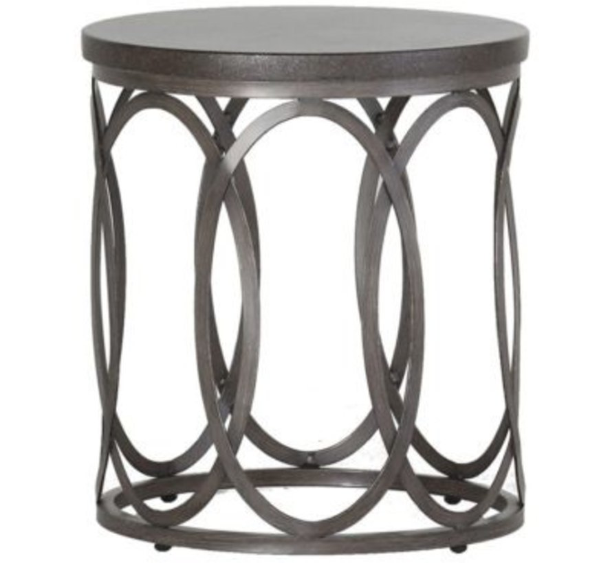 ELLA 20 INCH ROUND END TABLE WITH CHARCOAL BASE AND TRAVERTINE TOP