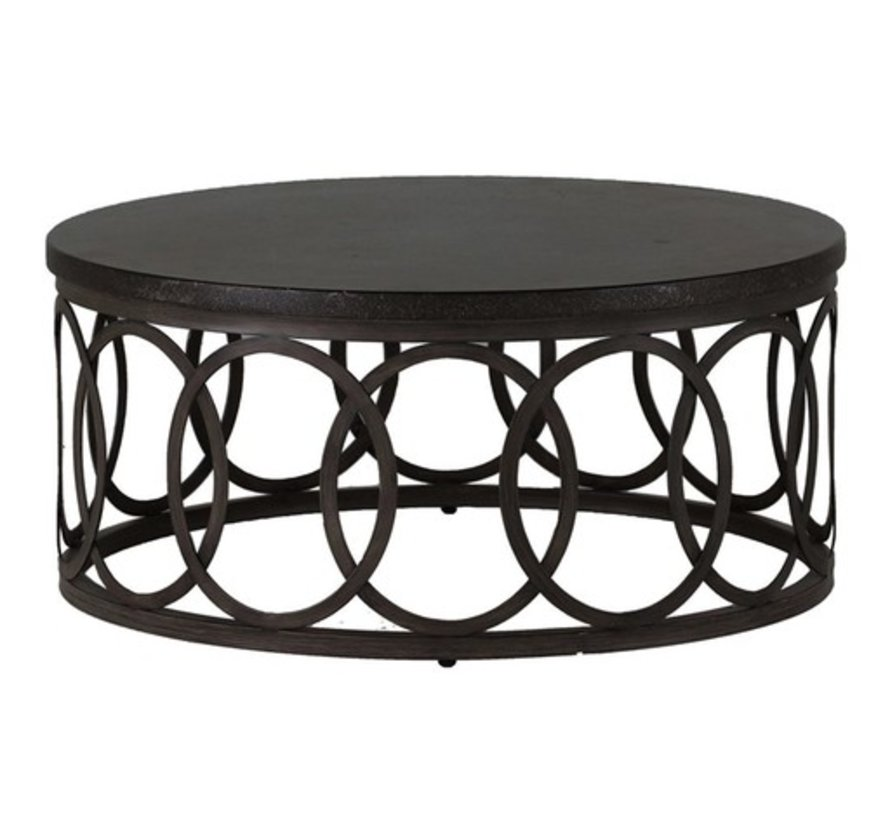 ELLA 36 INCH ROUND COFFEE TABLE WITH CHARCOAL BASE BLACK WALNUT TOP