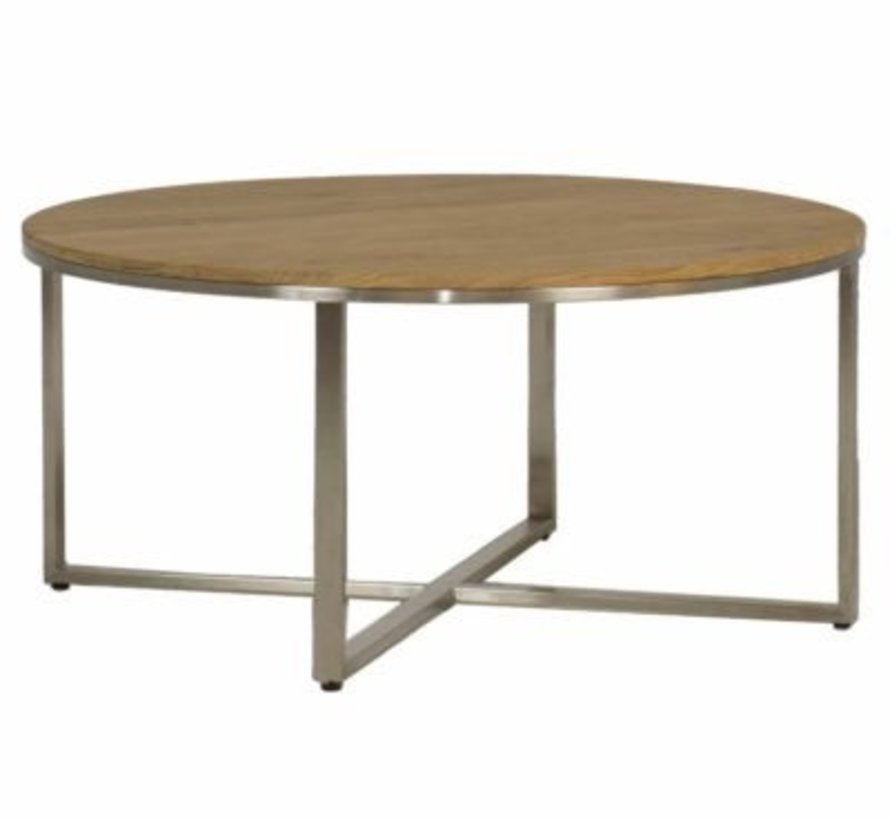 BRADLEY 36 INCH ROUND COFFEE TABLE WITH STAINLESS STEEL BASE AND TEAK TOP