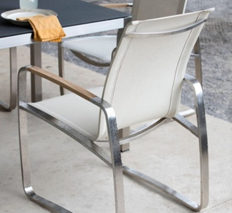 DELRAY ARM CHAIR WITH STAINLESS STEEL FRAME AND CANVAS SLING