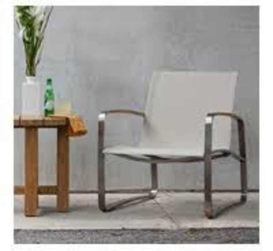 DELRAY LOUNGE CHAIR - STAINLESS WITH CANVAS SLING