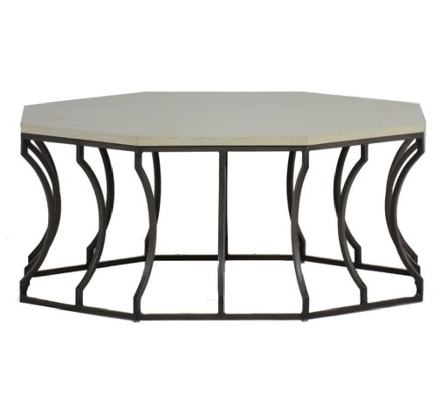 AUDREY COFFEE TABLE WITH CHARCOAL BASE AND TRAVERTINE TOP