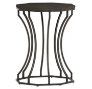 SUMMER CLASSICS AUDREY 20 INCH ROUND END TABLE WITH CHARCOAL BASE AND BLACK WALNUT SUPERSTONE TOP