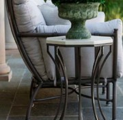 SUMMER CLASSICS AUDREY 20 INCH ROUND END TABLE WITH CHARCOAL BASE AND TRAVERTINE TOP