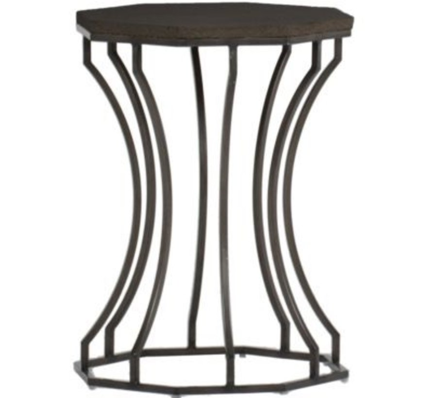 AUDREY 20 INCH ROUND END TABLE WITH CHARCOAL BASE AND TRAVERTINE TOP