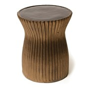 SEASONAL LIVING TWO GLAZE RIDGED STOOL- BLACK TOP / METALLIC SIDES