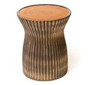 SEASONAL LIVING TWO GLAZE RIDGED STOOL- ORANGE TOP & METALLIC SIDES