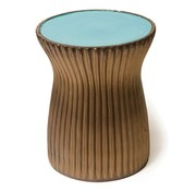 SEASONAL LIVING TWO GLAZE RIDGED STOOL - TURQUOISE BLUE TOP / METALLIC SIDES
