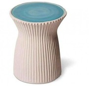 SEASONAL LIVING TWO GLAZE RIDGED STOOL- TURQUOISE BLUE TOP / WHITE SIDES