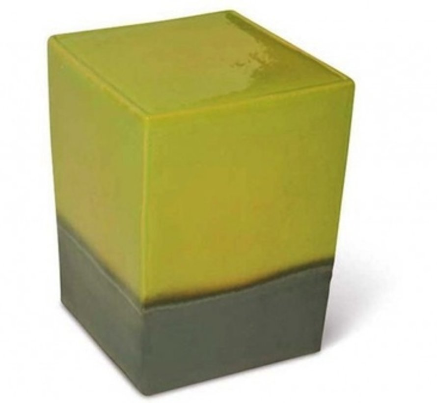 TWO GLAZE SQUARE CUBE- APPLE GREEN TOP / METALLIC BASE